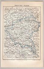 Poznań, Posen, Polen - Alte Karte der Region - Lithographie um 1885