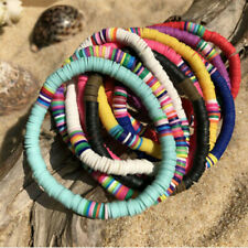 Boho Polymer Clay Disc Bead Stretch Bracelet Multicolor Beads Jewelry Gift