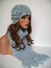 WOMENS CROCHET SILVER BLUE CLOUD FLOWER HAT AND SCARF SET BEANIE SKULL SKI CAP