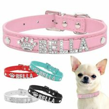 Personalize Rhinestone Small Dogs Puppy Pet Collar Free Name Charms Accessories