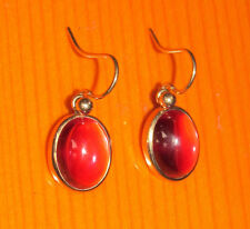 BEAUTIFUL SECONDHAND VINTAGE 9ct GOLDRED STONE HOOP EARRINGS FOR PIERCED EARS