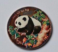 5 Yuan Münze China Silber Feinsilber 1/2 Unze 1/2 Oz 1998 Panda farbig