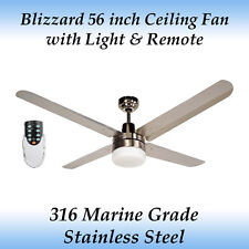 Blizzard 56 inch Marine Grade Stainless Steel Ceiling Fan with Light and Remote