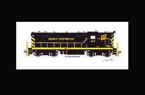 "Detroit & Toledo Shore Line GP7 #43 11""x17"" Matted Print Andy Fletcher signed"