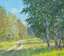 ROAD IN FOREST. SUMMER landscape by ALEXANDROVSKY, Original oil Painting RUSSIAN