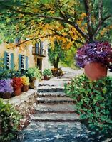 YARY DLUHOS ORIGINAL OIL PAINTING Italy Tuscan Villa Garden Steps Flowers Trees