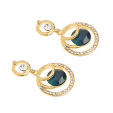 Women Round Big Blue Glass Crystal Rhinestone Gold Plated Wedding Stud Earrings