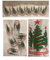 VINTAGE Libbey Christmas 16 oz. Drinking Glass Tumblers CHRISTMAS TREE Set of 6