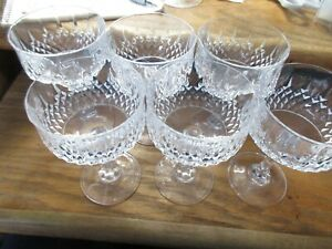 "6 Glasses Cris D'arques Durand LONGCHAMP Champagne Sherbet Glasses EUC 5 1/2"""