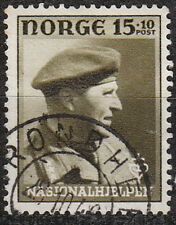 Stamp Norway Sc O44 1946 WWII War Victims Crown Prince Olav Norge Soldier Used