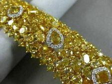 GIA LARGE 51.38CT WHITE & FANCY YELLOW DIAMOND 18KT YELLOW GOLD TENNIS BRACELET