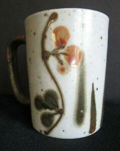 Otagiri Coffee Mug Stoneware Speckled ORANGE GREEN Berries Leaves Brown Handle