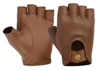 New Retro Soft Mesh Leather Men Fingerles Driving Cycle Gloves Unlined Chauffeur