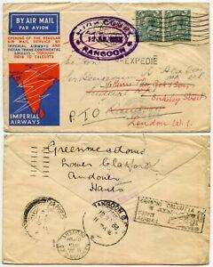 AIRMAIL FIRST FLIGHT IMPERIAL REDIRECTED BURMA KARACHI + HIGH COURT RANGOON OVAL