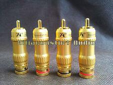 4x HIFI Audio GF-G095R 24K Gold Plated RCA Connector Plug phono