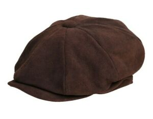 Brown Mens Real Suede Leather 8 Panel Newsboy Baker Boy Gatsby Flat Cap