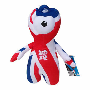 OLYMPICS London 2012 Union Jack Wenlock Red Wht Blue Plush Toy Memorabilia 25 cm