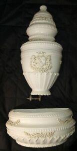 Large Italian porcelain fountain wall pocket/decorative piece