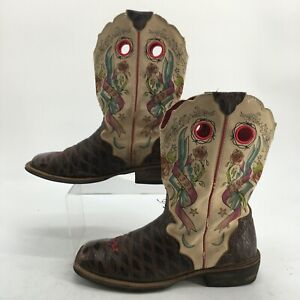 Ariat Womens 9.5B Rodeo Baby Rocker Western Cowboy Boots Brown Leather 10006764