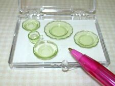 "Miniature Chrysnbon GREEN Plastic ""Depression Glass"" Setting: DOLLHOUSE 1:12"