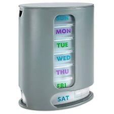 MEDca Weekly Pill Case Box Organizer 1 Dispenser 7 Stackable Compartments Grey