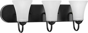 "NEW! Progress Lighting Black 3-Light 24""W Bathroom Vanity Wall Mount Classic $99"
