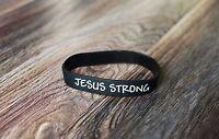 BRAND NEW Jesus Strong Writstband Black & White Bracelet / i am second