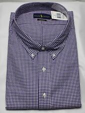 Polo Ralph Lauren Dress Shirt Mens 22 38 39 Classic Fit Purple White Green Pony
