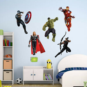Avengers Superhero Wall Art Stickers Mural Decal Ironman Hulk Thor 5 Piece Set