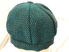 Black and Teal Tweed Weave Beret Hat