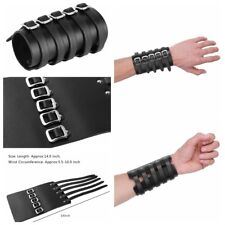 Unisex Buckles Faux Leather Wristband Bracer Arm Armor Cuff Gothic Punk Cosplay