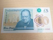 Rare NEW AK48 Uncirculated £5 Five Pound Polymer Plastic Fantastic Mint Note