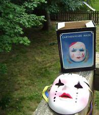 Earthenware Home Decor Venetian Mardi Gras, White Porcelain Clown Wall Art Mask