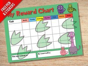 Dinosaur Reward Chart - Kids Childrens School Sticker Star Chart - Stickers Pen