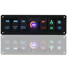 12V Car Marine Boat 6-Gang Laser Waterproof Circuit Rocker Switch Panel Breaker