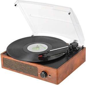 Vintage Bluetooth Record Player Belt-Driven 3-Speed Turntable Built-in Speakers