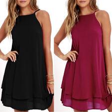 ZANZEA Women Summer Sleeveless Halter A-Line Mini Dress Beach Party Sundress