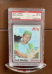 1970 Topps Rick Monday #547, PSA NM-MT 8 Oakland Athletics