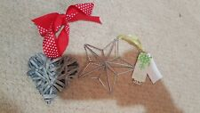 Bnwt Next Silver Colour Metal Star & Wicker Heart Hanging Decoration Christmas