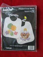 1991 Janlynn Cho Choo Teddy Bib Pair Stamped Cross Stitch Kit # 54-45 NOS