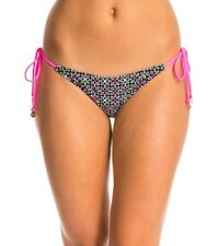 MINKPINK Bikini Bottoms UK 8 Black Pink White Side Ties Hipster Midnight Tribe