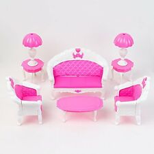6pcs Sofa Chair Couch Table Lamp Set Toys For Barbie Dolls House Furniture US