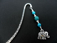 A TIBETAN SILVER TURQUOISE  BEAD  & ELEPHANT CHARM BOOKMARK. NEW.