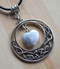 Antique Silver Plt Celtic Pendant Howlite Heart Necklace Ladies GIft Reiki