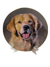 """Cherished Golden Retriever Dog Plate """"Eyes Of Love� Danbury Mint Collection"""