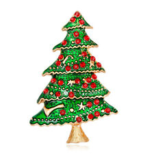 Celebration Party Pin and Brooch Christmas Tree Oil Painting Gold Plated