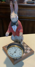 Vintage Peggy Herrick 1991 Wood Carving Folk Art Rabbit clock French, Signed
