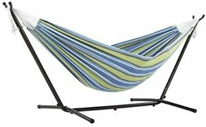 Double Cotton Hammock Space Saving Steel Bed Stand Garden Outdoor Patio Camping