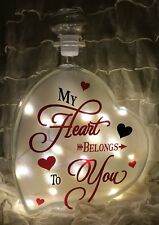 "LED 8"" Glass Light Up Heart Bottle My Heart Belongs To You Lamp Gift Valentines"
