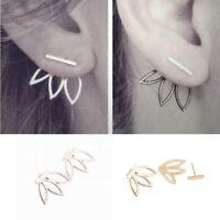 pendientes aleacion Gold Silver Vintage Boho Gold Silver Lotus Ear Stud Earrings